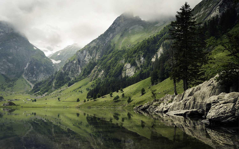 seealpsee reflection Switzerland alps lake