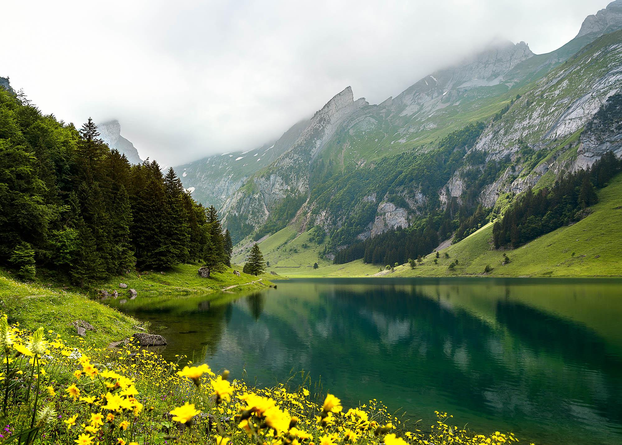 seealpsee Switzerland reflection alps lake