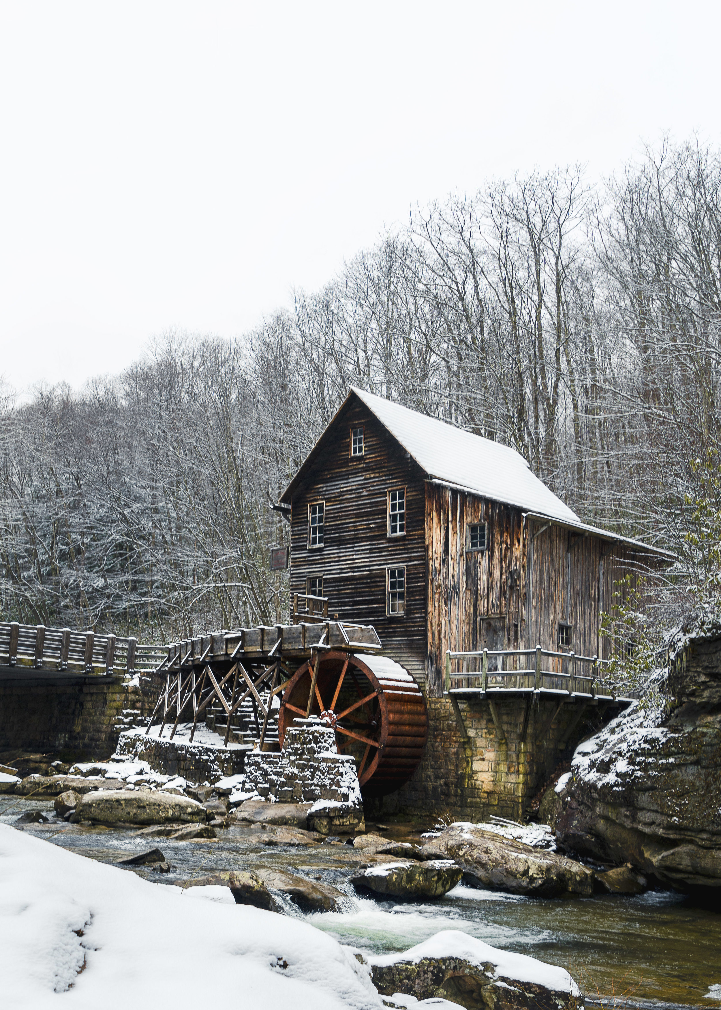 Babcock state park grist mill during the winter with fresh snow