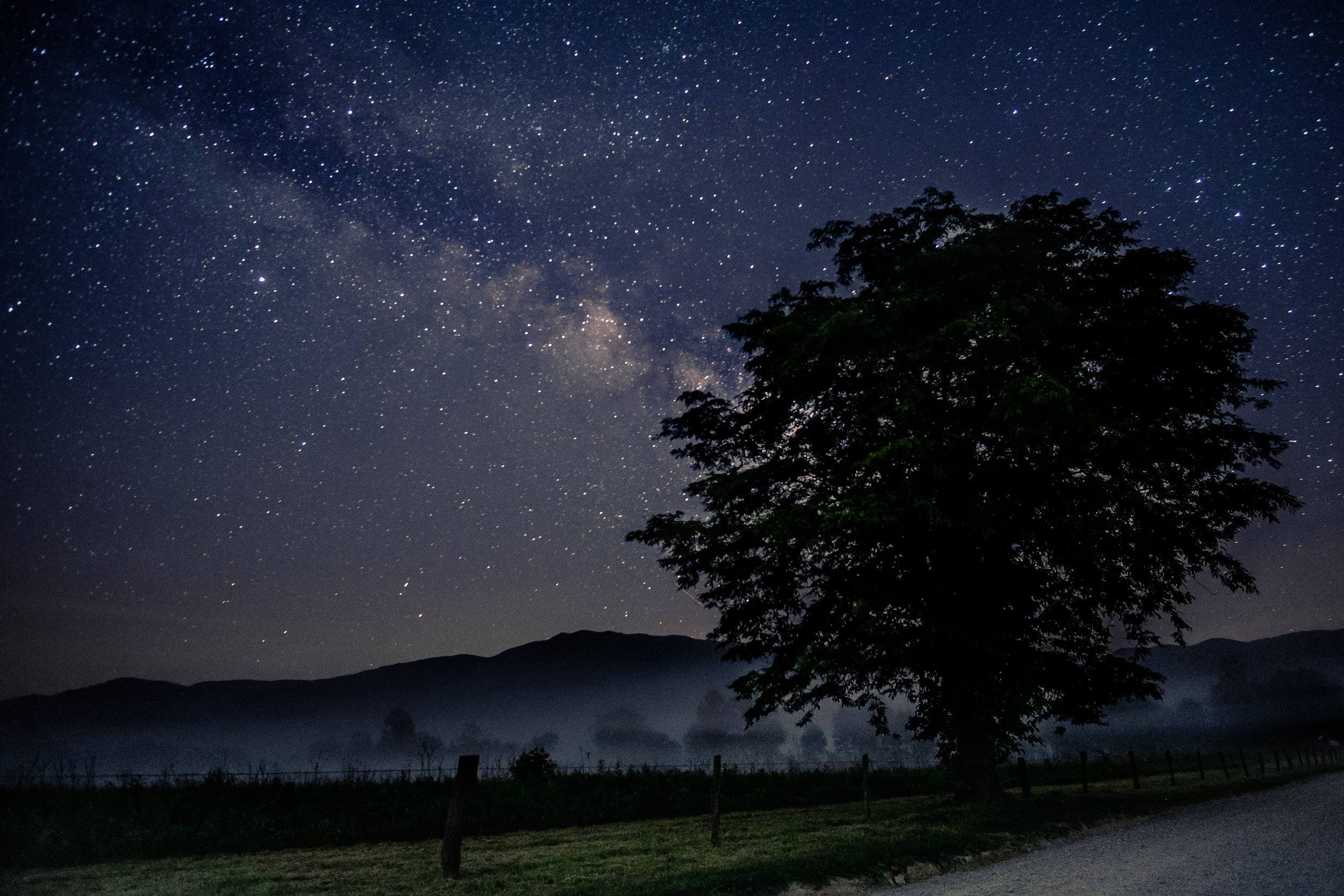 Milky Way over Cades Cove In the Great Smoky Mountains National Park