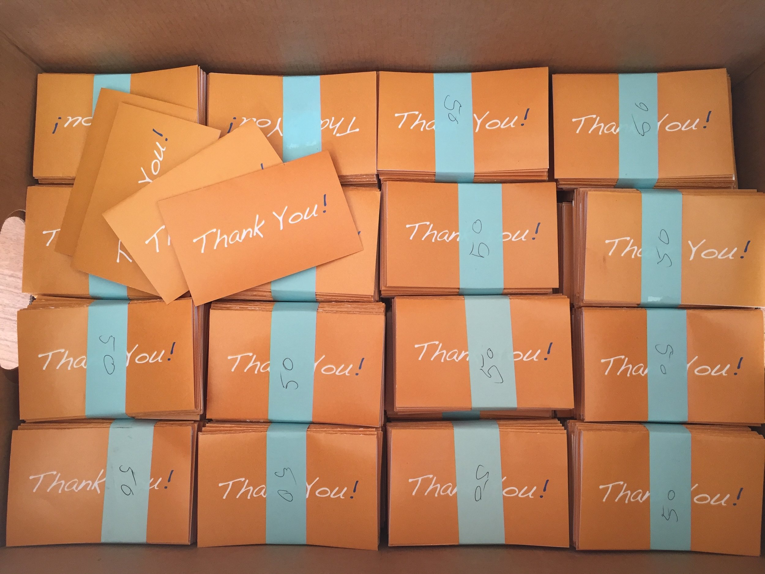 6,000+<br> Thank You Notes <br>Hand Written & Delivered