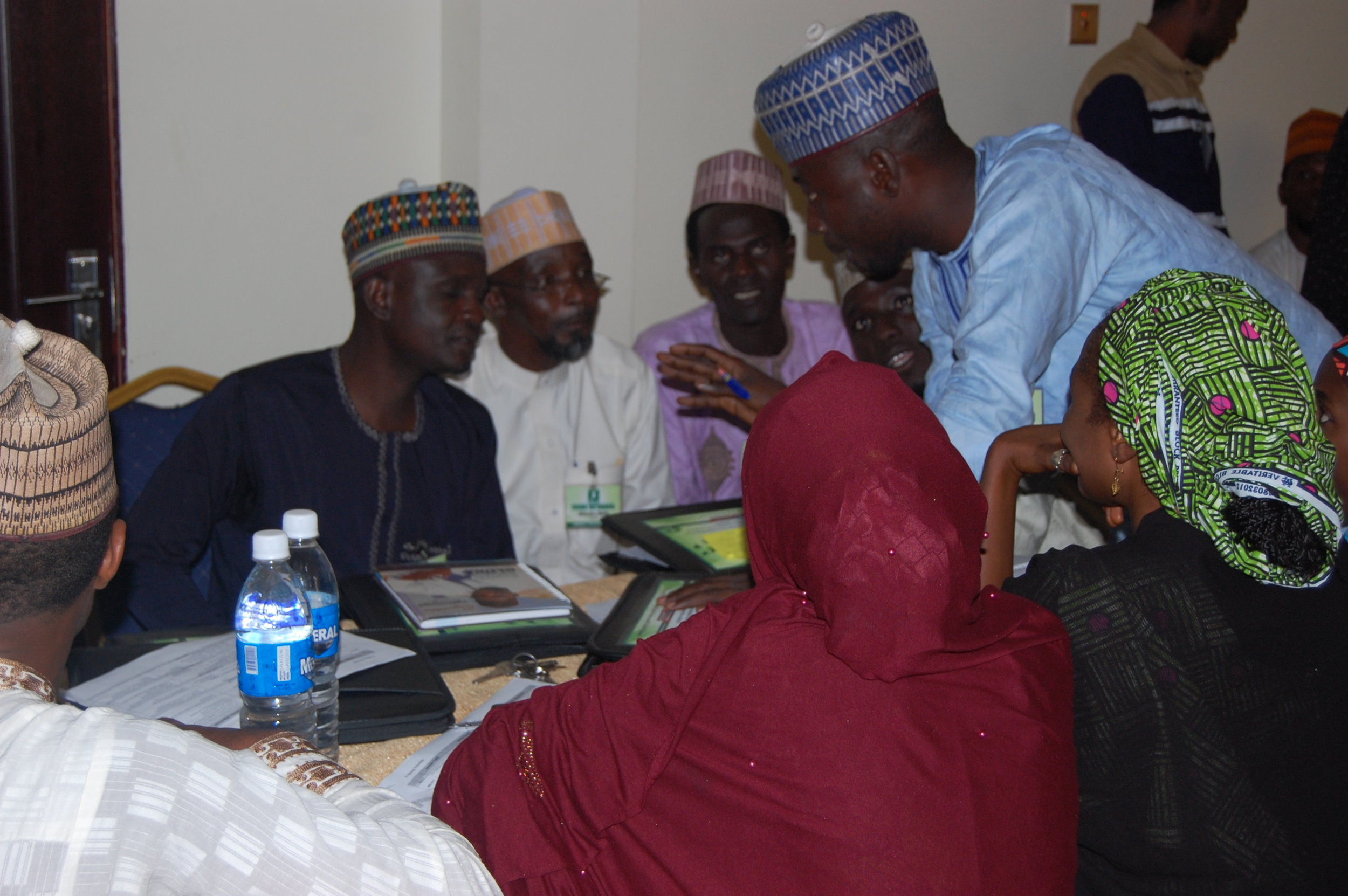Participants discussing their project during the group work session.