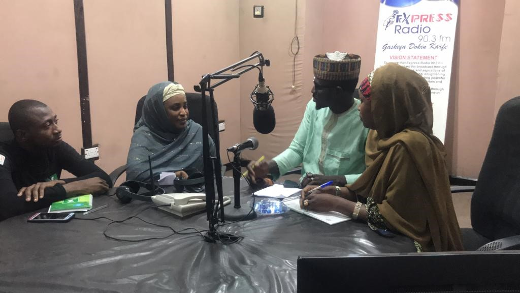 Adamu, Khadija, Hadiza and the presenter of Madubin Ilimi Program.