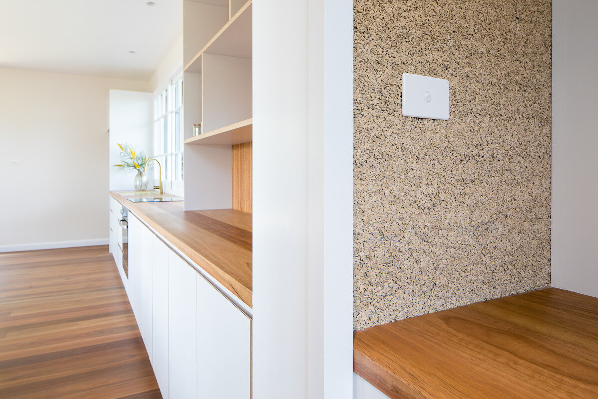 - Glimpses of Hempcrete are left exposed on various internal walls
