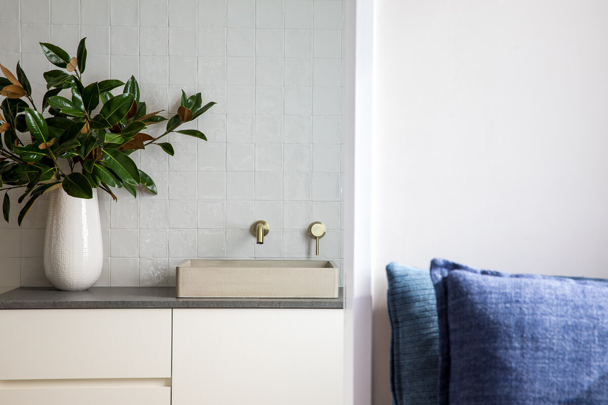 - Feature elements of the kitchen, bathroom and joinery were brought to life by interior designer and stylist Marian Sims of Studio Mighty Human.