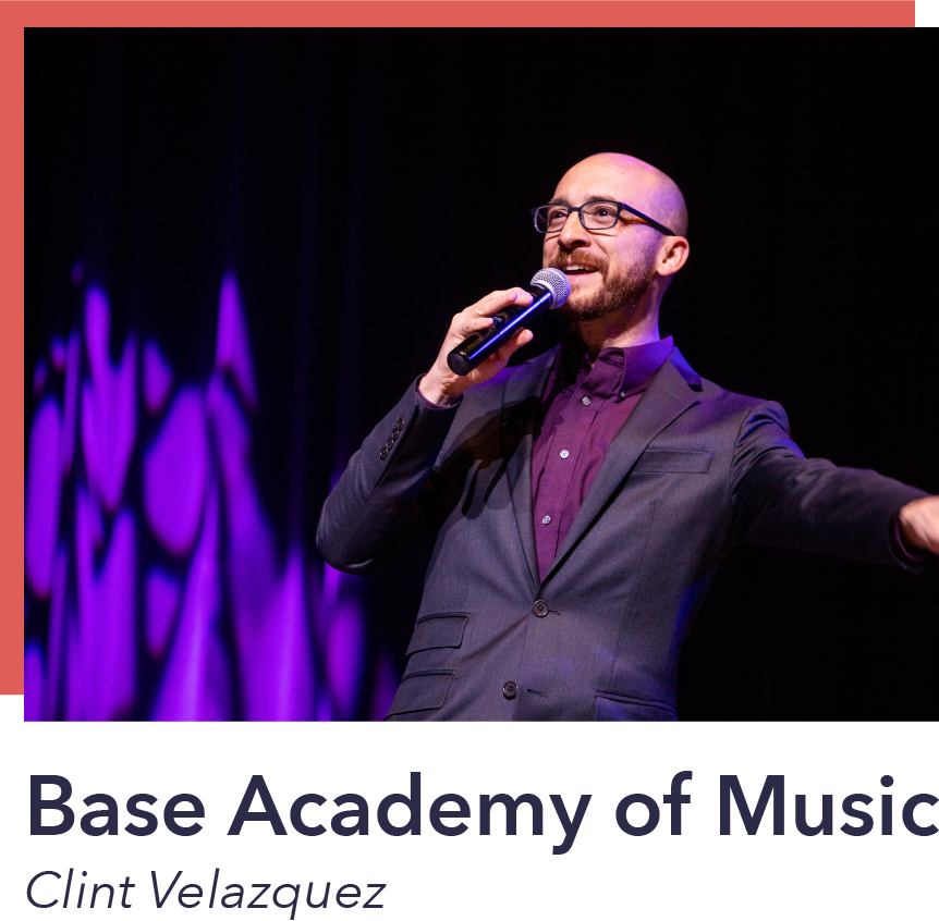 Clint Velazquez believes that music education is a vital part of a complete education and students who want to study music should be able to, regardless of the community they live in or their economic status. Base Academy of Music aspires to see our schools, our communities, and our city transformed by a generation who knows and creates beauty through music.