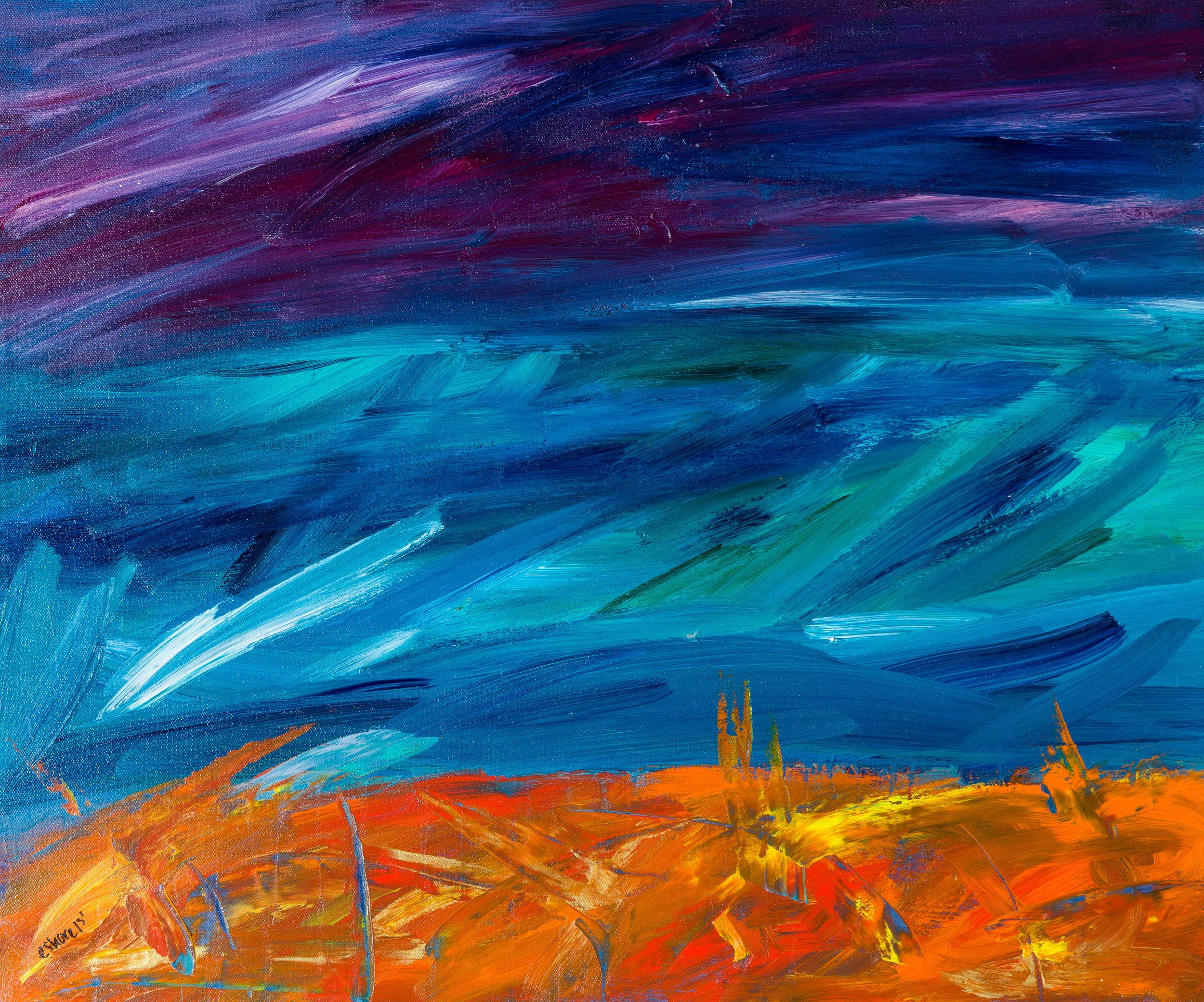 "sunset haze, acrylic paint, 18"" x 24"" (2013)"
