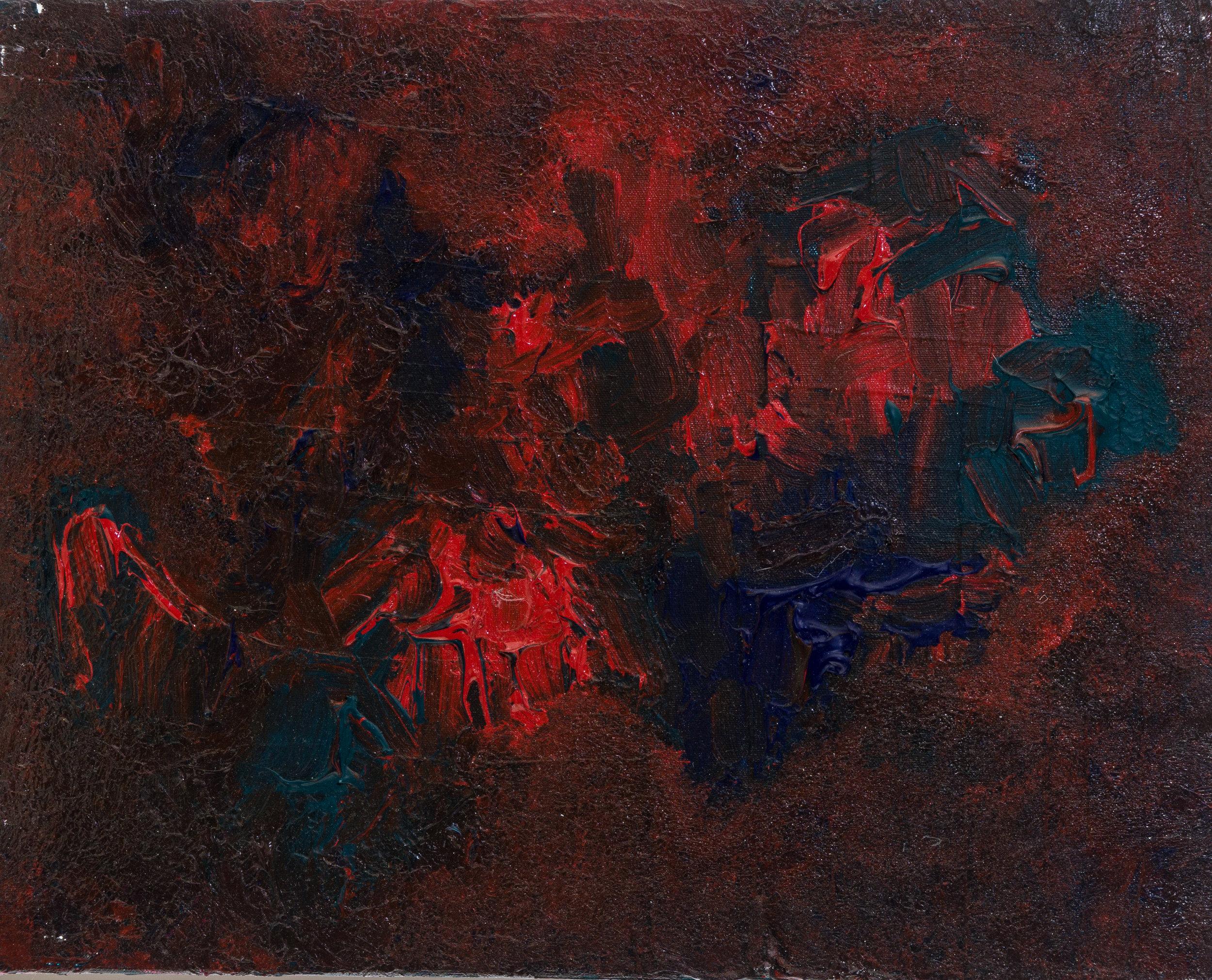 "rosy mess, acrylic paint, 16"" x 20"" (2014)"