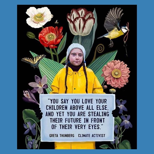 """Some food for thought on this Wednesday 🙌 Greta Thunberg, a 16-year-old Swedish climate activist, addressed the U.N.'s Climate Action Summit on Monday. """"For more than 30 years, the science has become crystal clear. How dare you continue to look away and come here saying that you're doing enough, when the politics and solutions are still nowhere in sight."""" — Thank you, Greta, for challenging political leaders and holding them accountable for their actions. We applaud you and will continue to support you in the fight against climate change. 🌍 pc: @brookefischerart"""