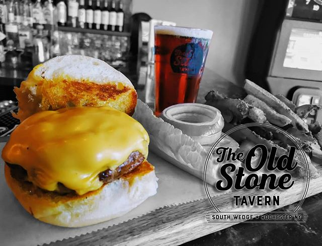 Wednesday September 18th is National Cheeseburger Day.  In celebration come on down to the Old Stone Tavern and get yourself one of our delicious 8oz steak burgers, with your choice of side and a pint all for just $13.50!  #roceats #rochesterny #southwedge #cheeseburger