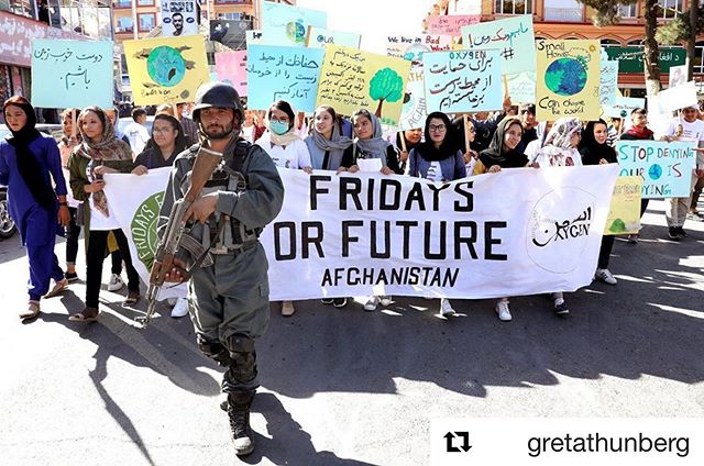 Friday inspiration: #globalclimatestrike in Kabul.  #Repost @gretathunberg with @get_repost ・・・ Change is coming, whether you like it or not. Millions of people marching for the climate today. Estimates say 270'000 in Berlin. 100'000 in Hamburg. 100'000 in London. Up to 400'000 in Australia. But this image from today's march in Kabul, Afghanistan is one of the most powerful we've seen so far... #climatestrike #fridaysforfuture