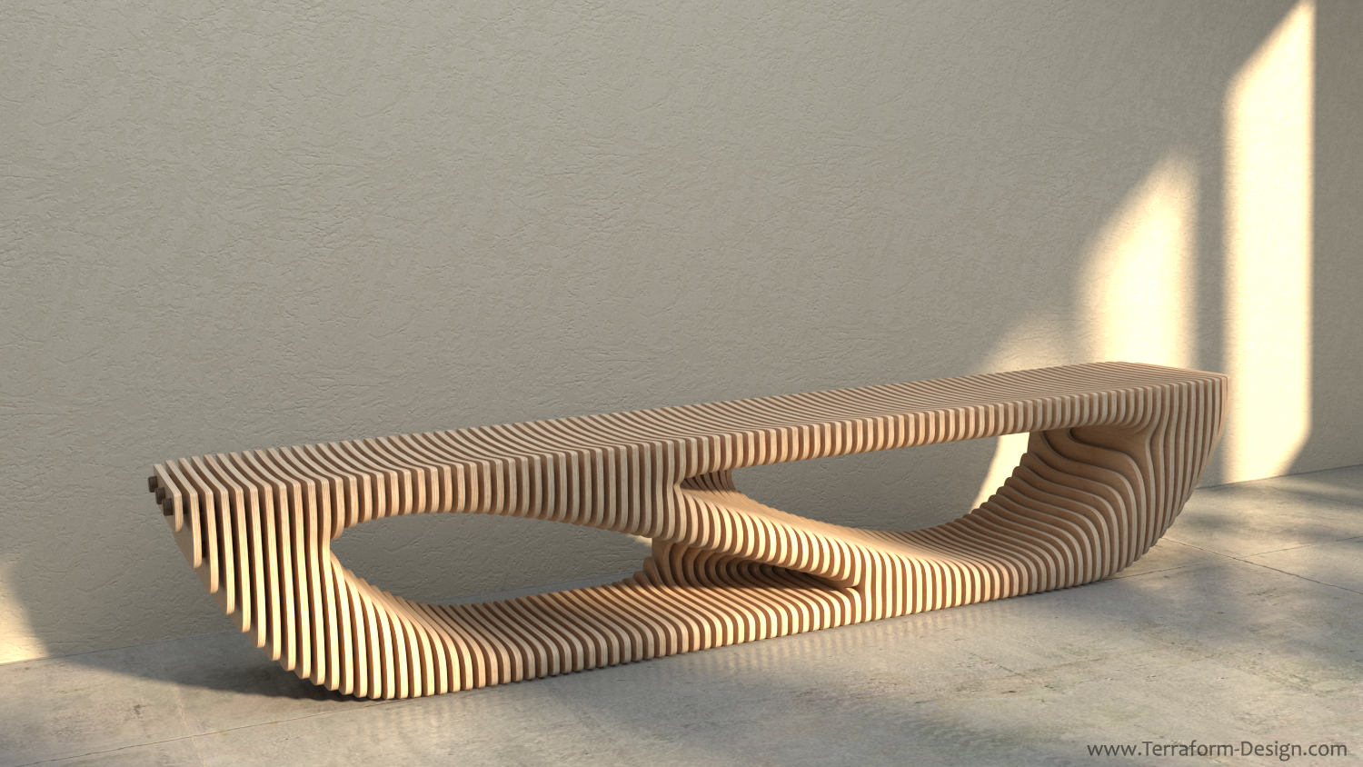 zebulun c_1W handmade parametric furniture cnc router sectioned flowing wooden decorative postmodern organic geometric plywood airport museum public bench tv stand terraform design.jpg