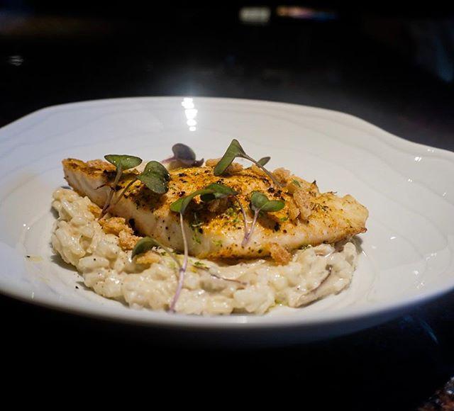 Coconut Mushroom Risotto, Broiled Local Snapper, Lime Dusted Crispy Fish Skin, Sauteeed Broccolini . . .  #foodporn #chef #passion #myroundplate #cheflife #idoitcauseiloveit #chefhatco #justcallmechef #chefstalk #MEEchef #chefstalkapp #deliciousness #truecooksstreetteam #truecooks #mecookmeeat #goodfood #plating #eatbermuda #justeat #  #chefjae #bermylife @chefraeven @bermyfoodguyjae