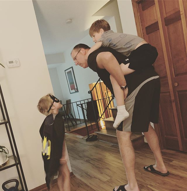 Why I married Ike.  Piggyback rides, dance parties and patience. ❤️. (His serious face is due to him talking like Batman to moe)