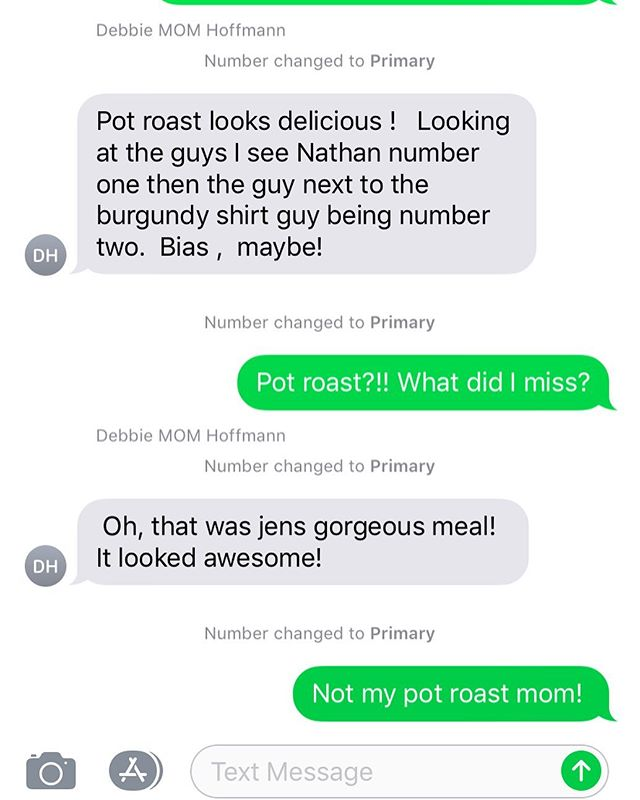 When a text message with mom goes wrong. (This started with a photo of my nephew at homecoming...my sister and I have no idea what or where the pot roast she's talking about came from😂😂😂)