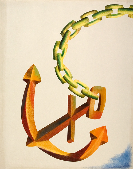 142.Anchor Starboard Side, Monotype 36 x 28 inches