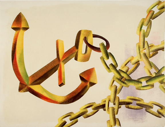 Anchor Toss #180, Monotype 24 x 36 inches