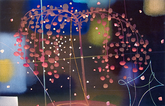 105. Japanese Fireworks.  Acrylic on Canvas, 30 x 48 inches