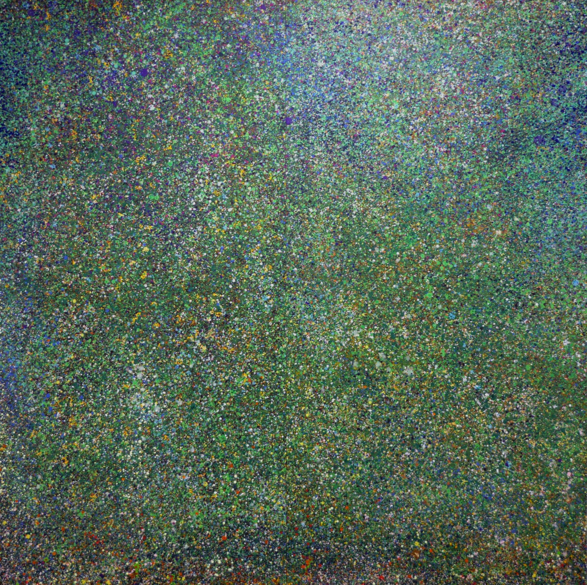LARGE GREEN 75 x 75 flash & acrylic on board