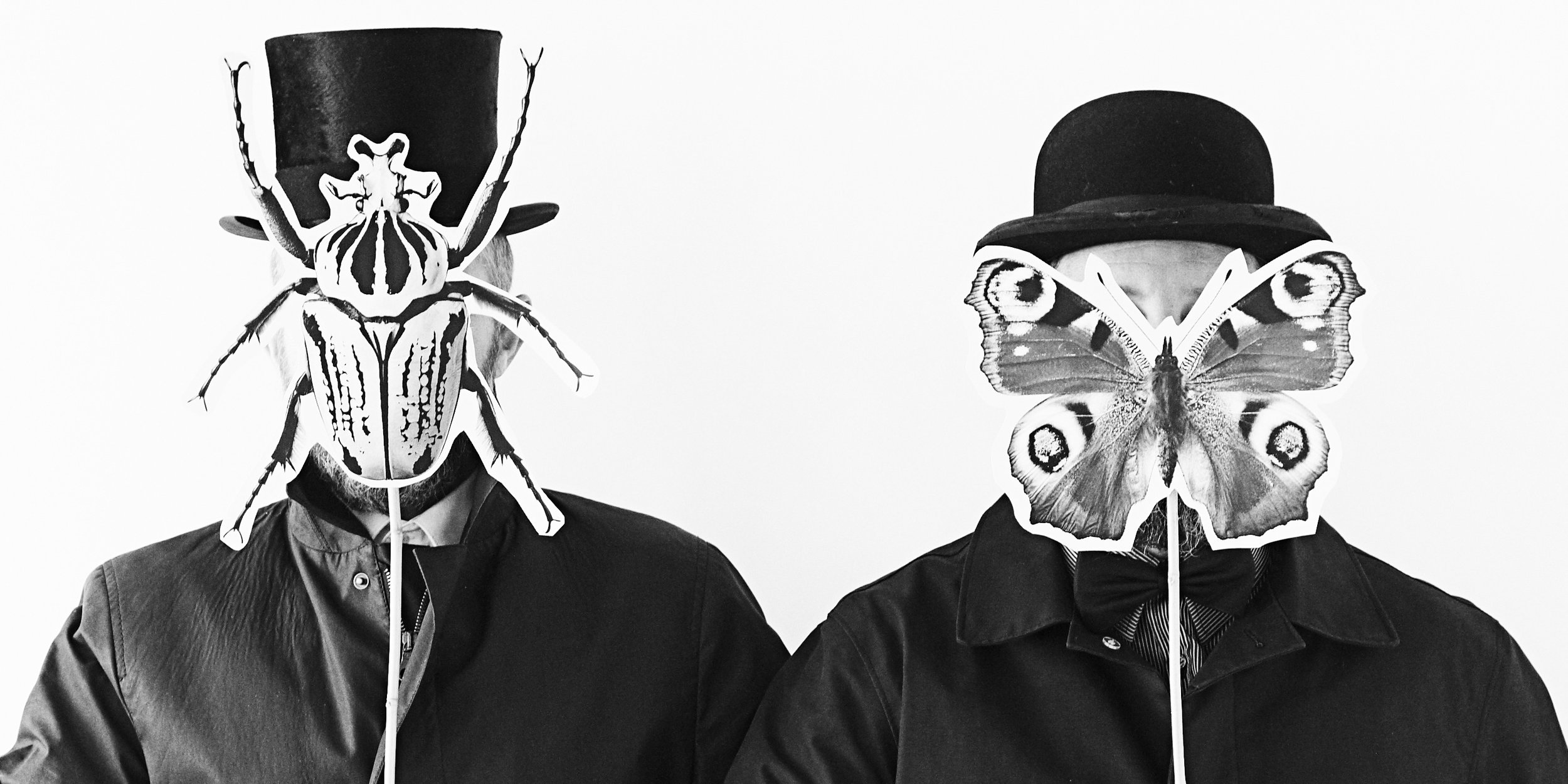 At hagedornhagen we have a passion for creeps and tiny winged creatures. Black and white portrait of photograpers, Mads Hagedorn-Olsen and Anders Morell.