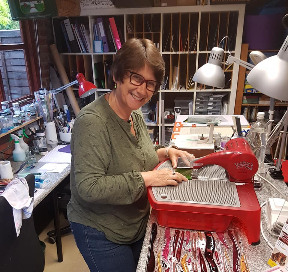 Carole Pollock - A talented glass artist who works magic with a variety of types of glass and is always happy to help others to create there own fused glass masterpiece….Back to Fused Glass WorkshopBack to all workshops