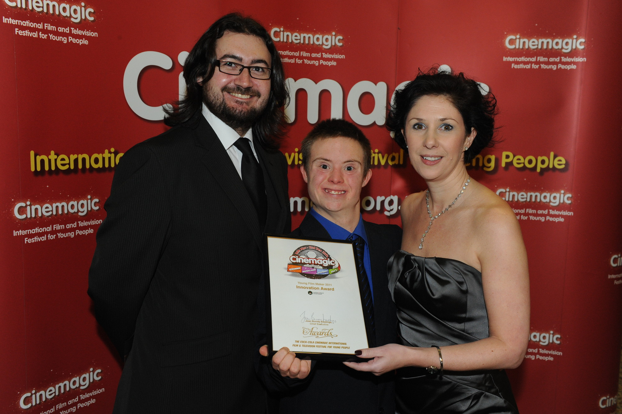 Cinemagic's Sean Boyle, Connor Rathbone and Susie McCullough, NITB who presented Connor with the Cinemagic Young Filmmaker Award for Best Film Innovation.jpg
