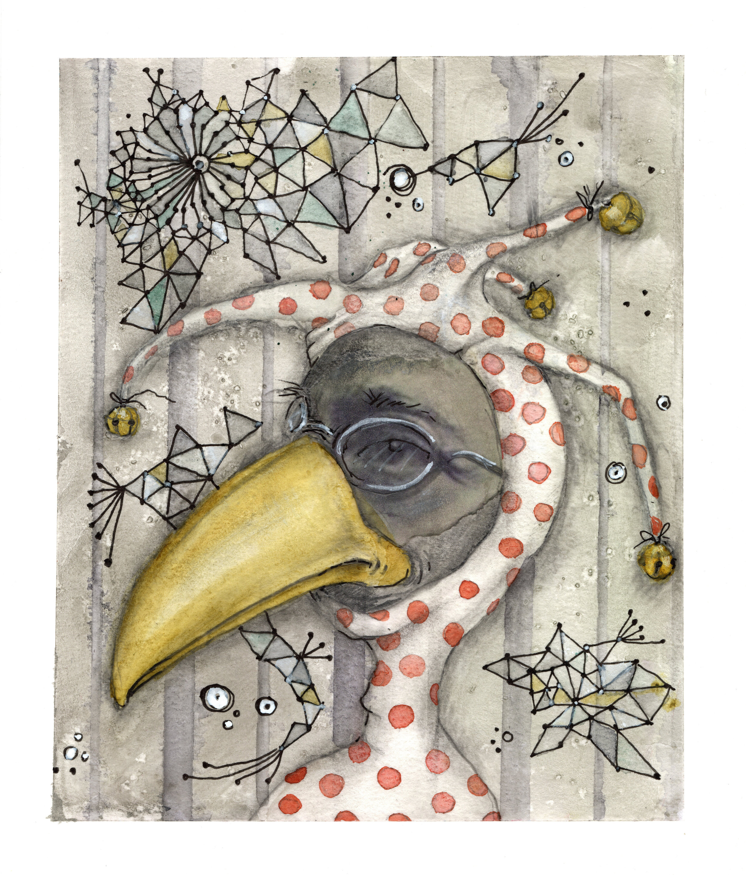 Birdman - mixed media on paper