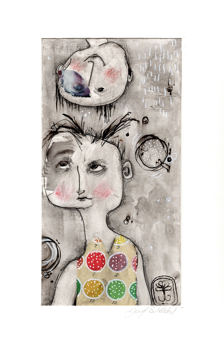 Play With Me - mixed media on paper