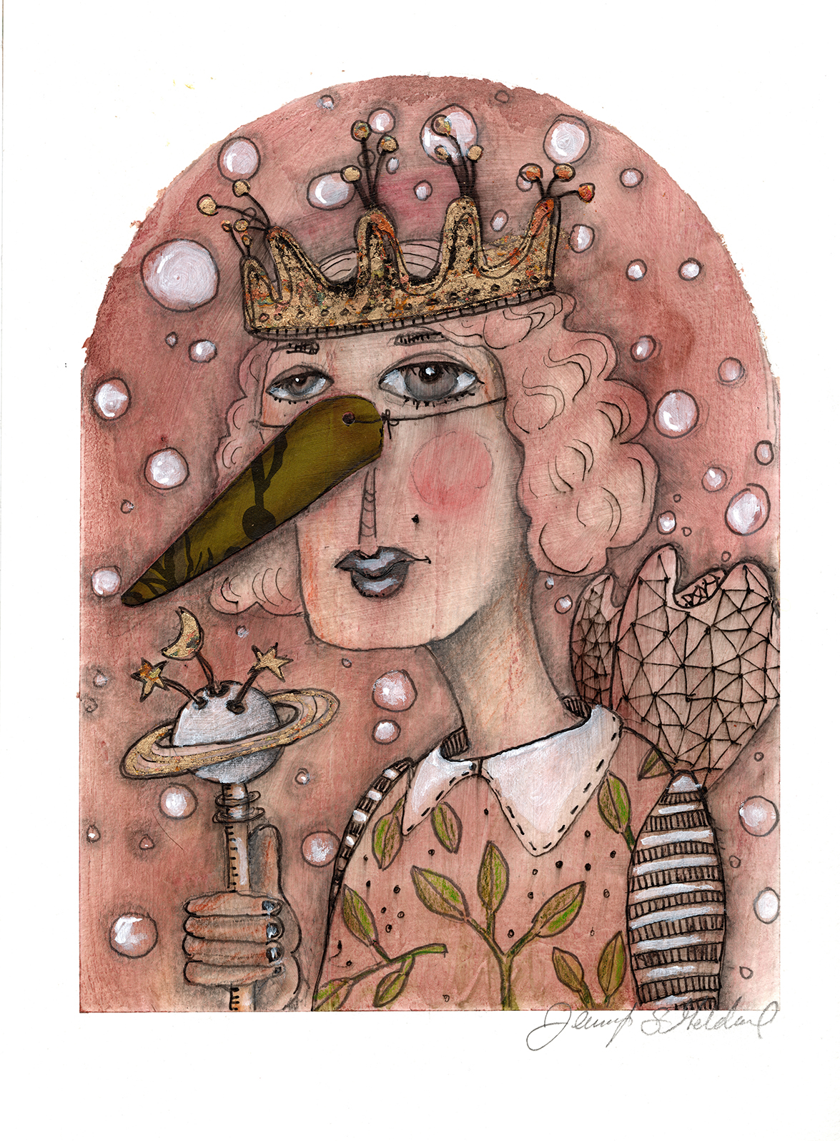 Queen of the Universe - mixed media on paper