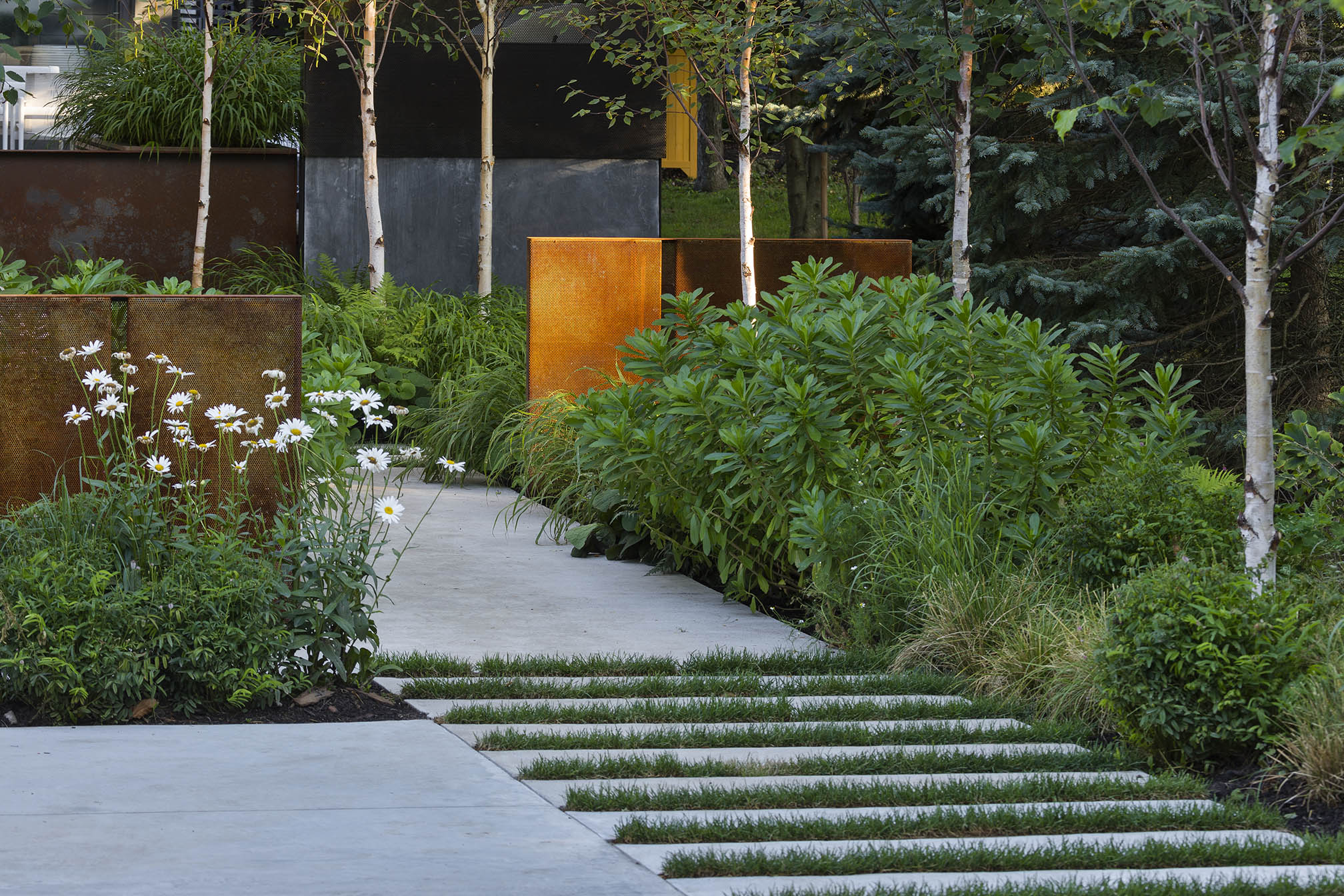 A House in a Grove Exterior Landscape Front Walkway