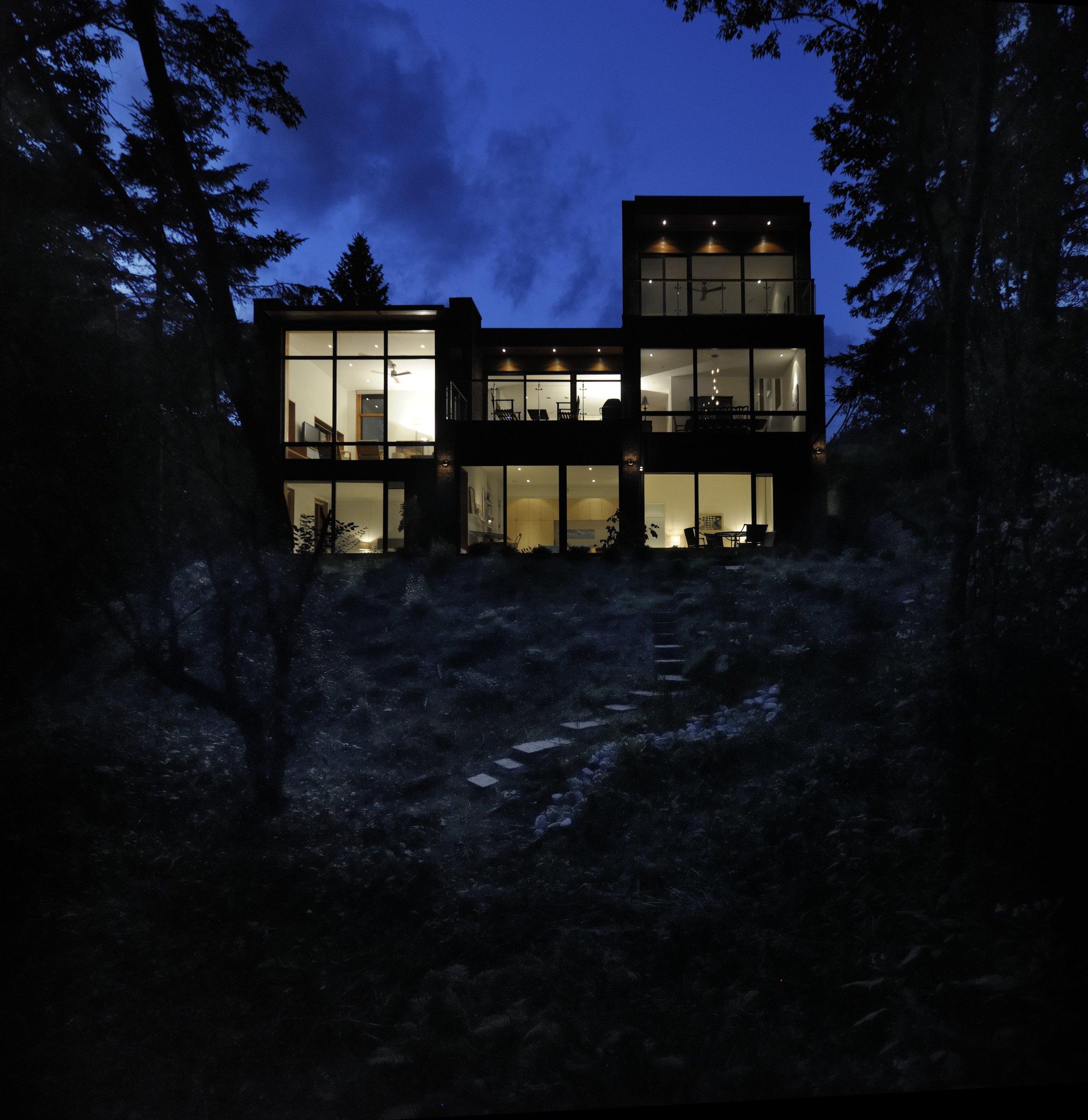 Augusta House Exterior Backyard Night Shot