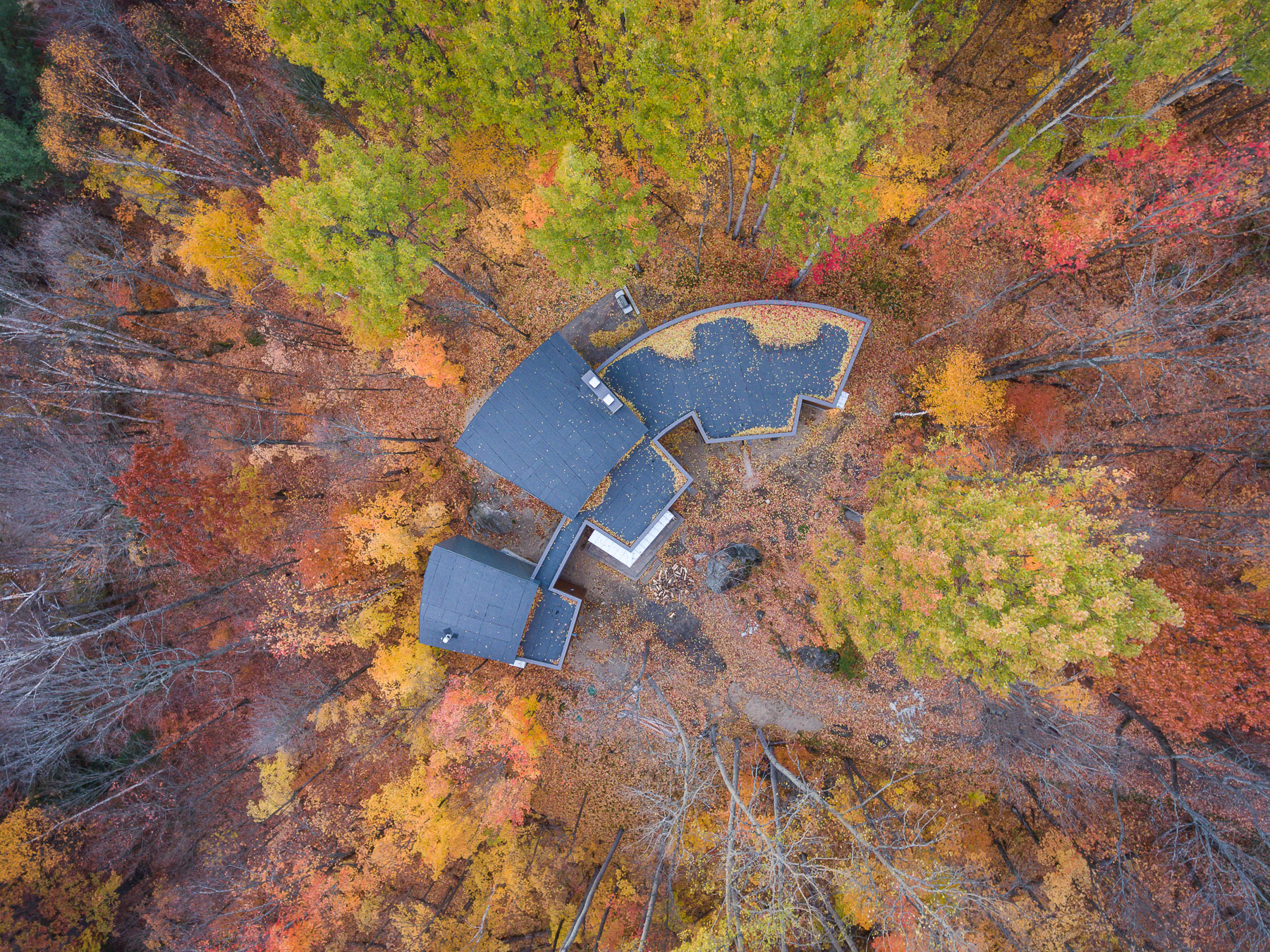 Oblong Lake Exterior Aerial Drone Shot