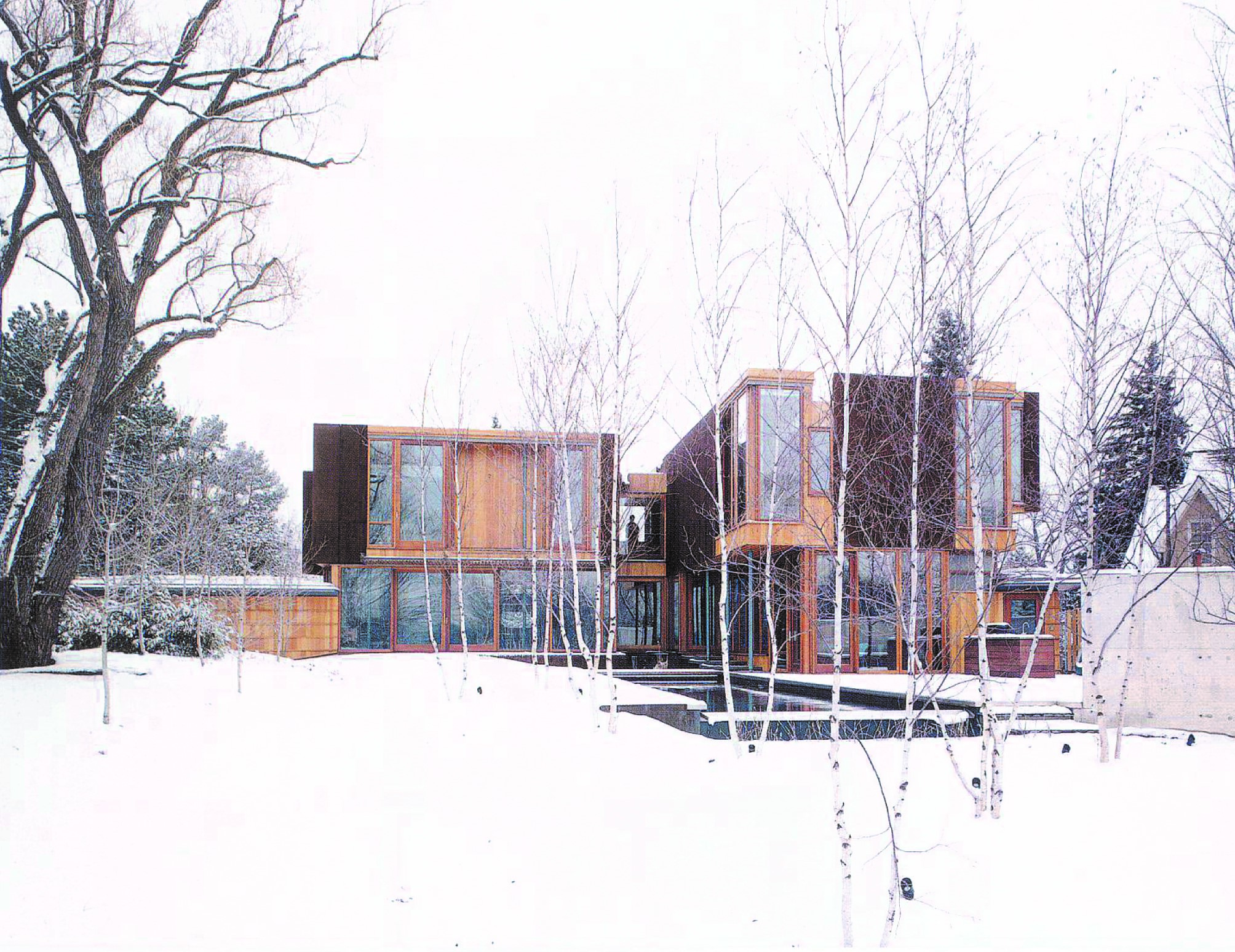 Weathering Steel House Exterior Backyard Winter