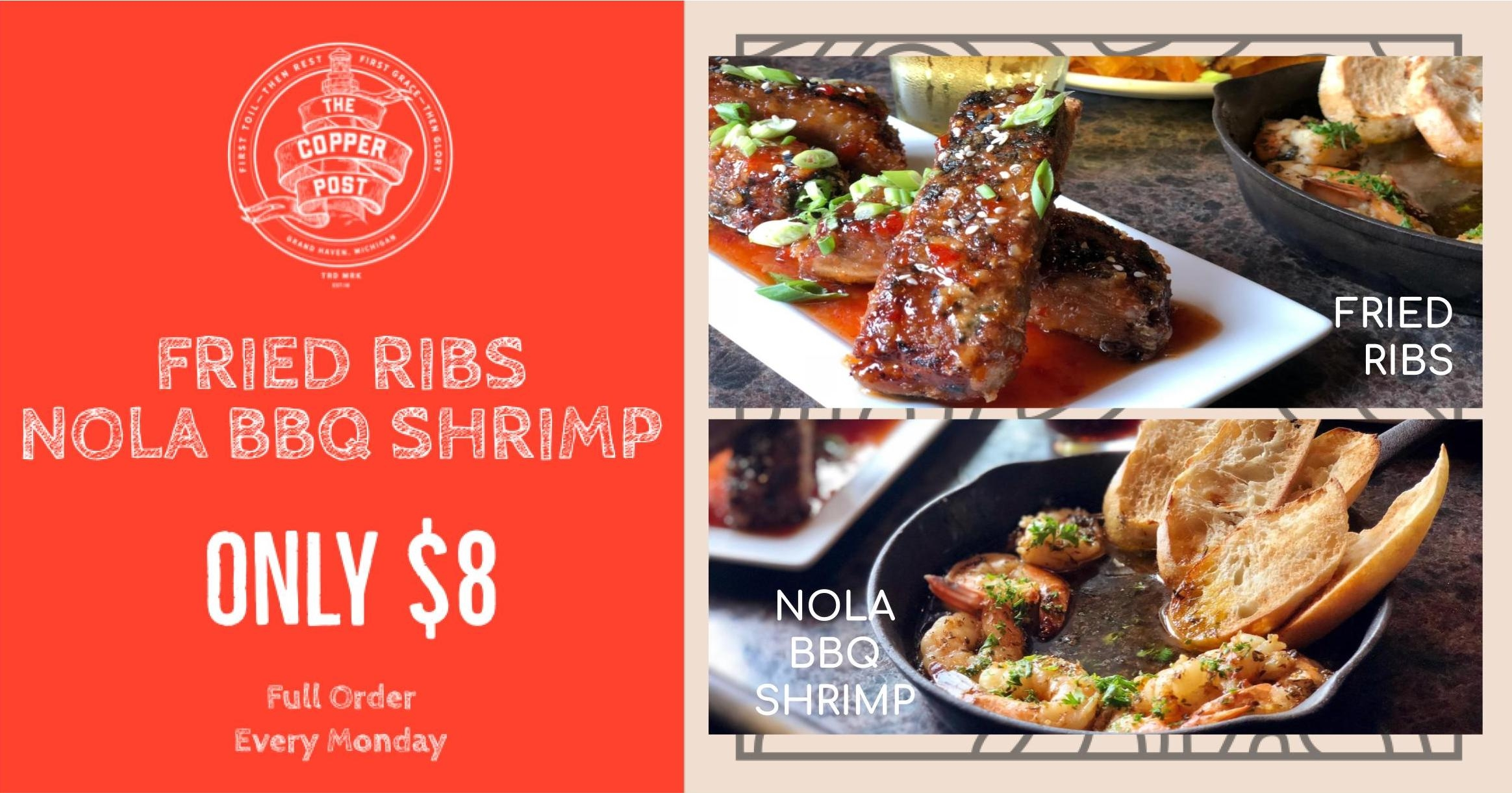 Fried Ribs & NOLA BBQ Shrimp