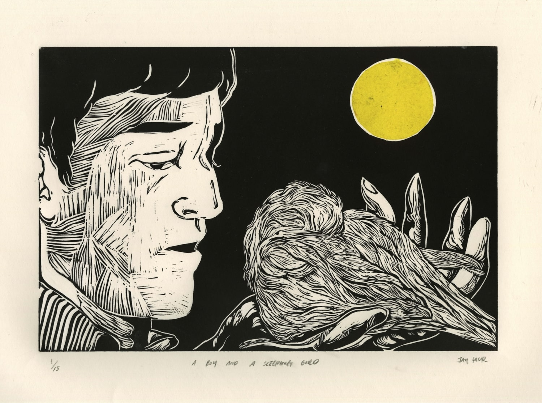 1. Jay Hur_A boy and a sleeping bird_Linocut_35 x 45 cm.jpg