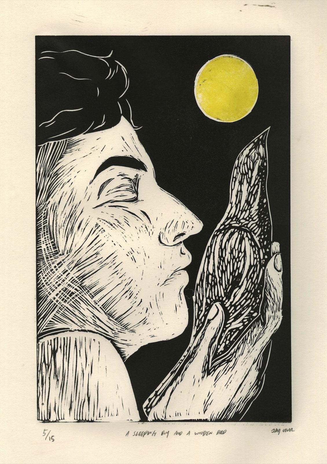 2. Jay Hur_A sleeping boy and a wooden bird_Linocut_45 x 35 cm.jpg