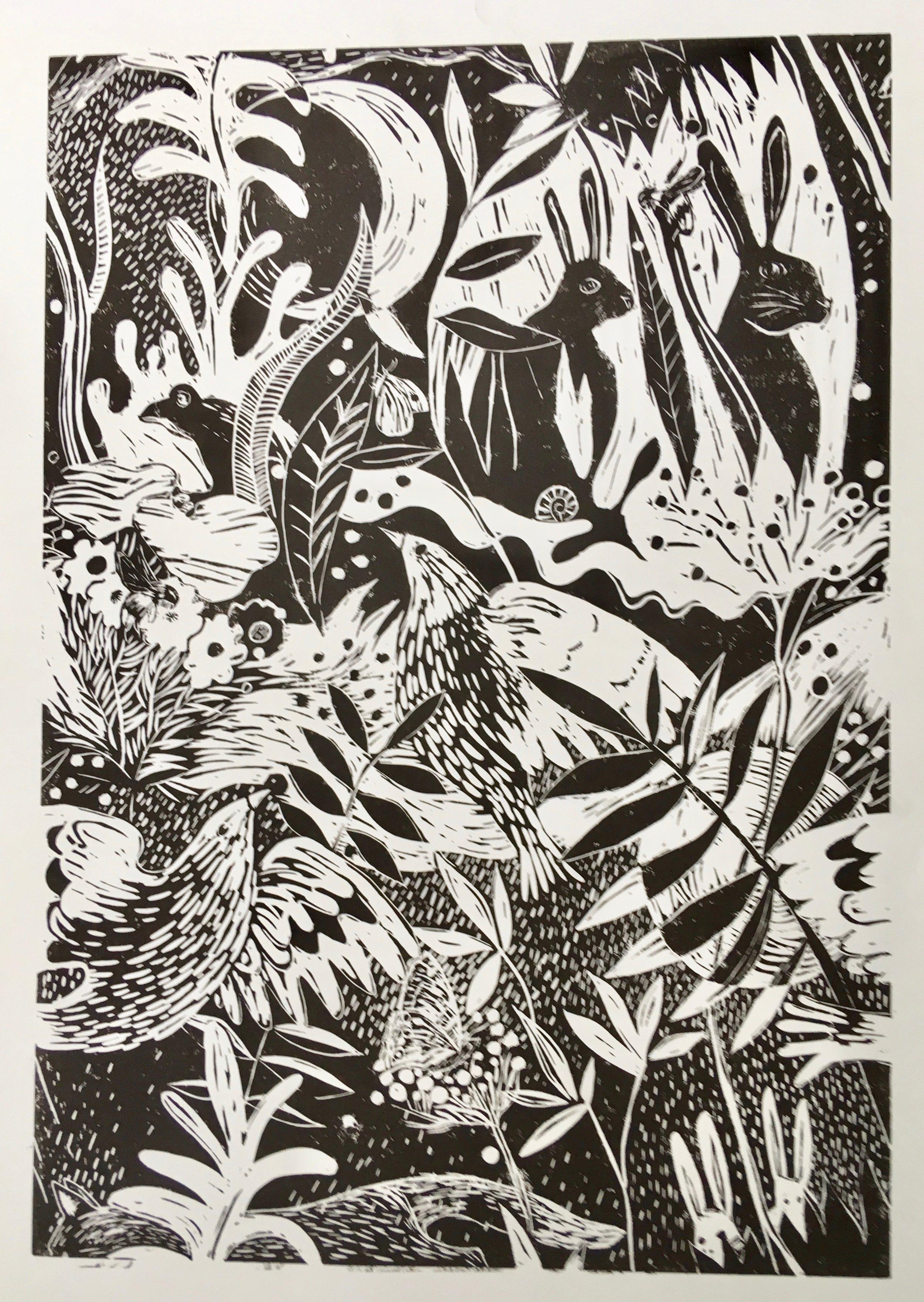 3. Lino Birds and Rabbits.by SARAH FALLA.jpeg