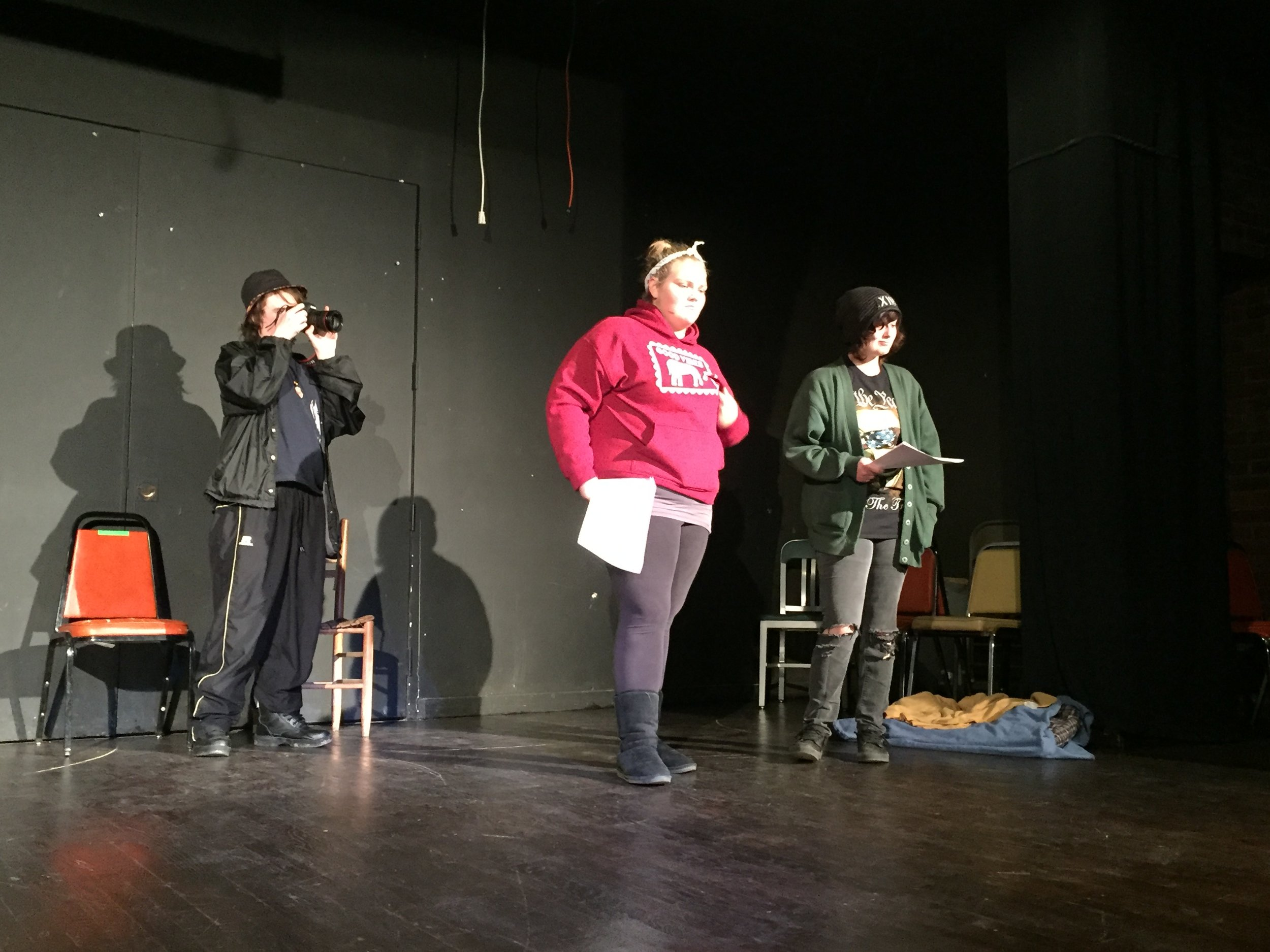 Roadside Story-to-Performance Youth Lab participants rehearse their original play  What If There Was a Fire...? , 2016