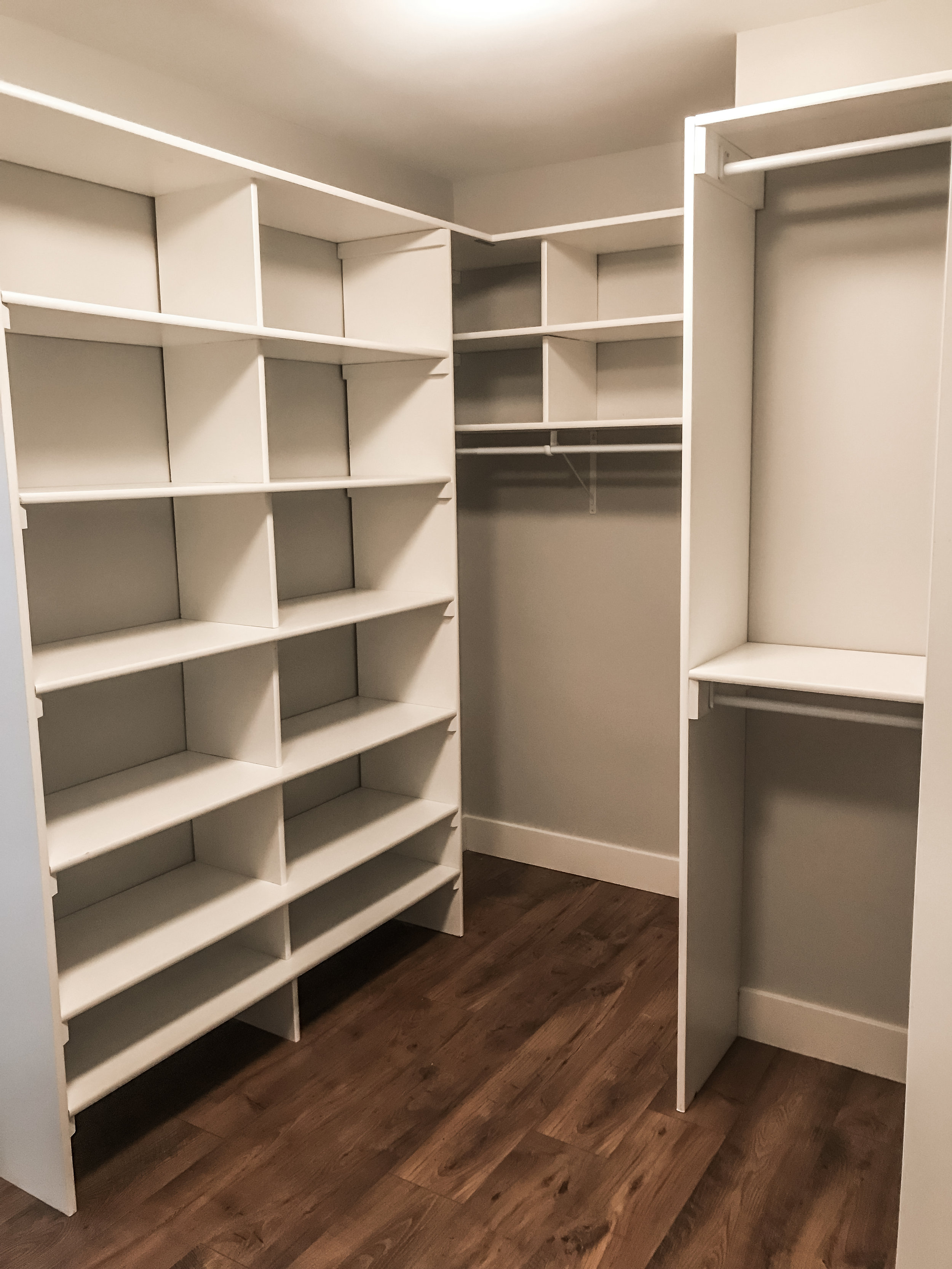Walk-through master closet leads to the master bathroom.