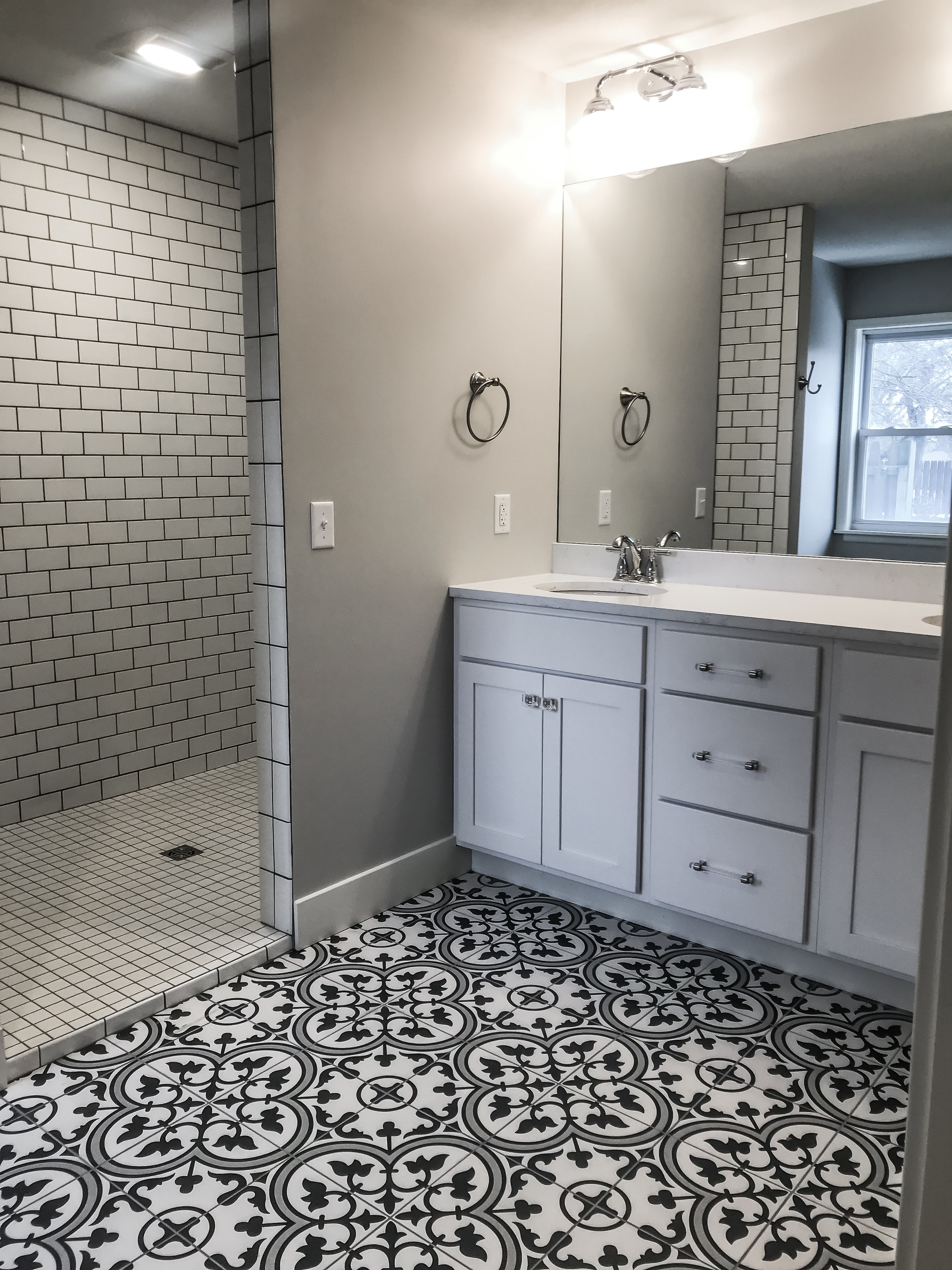 Master bathroom with all new custom Amish cabinets.