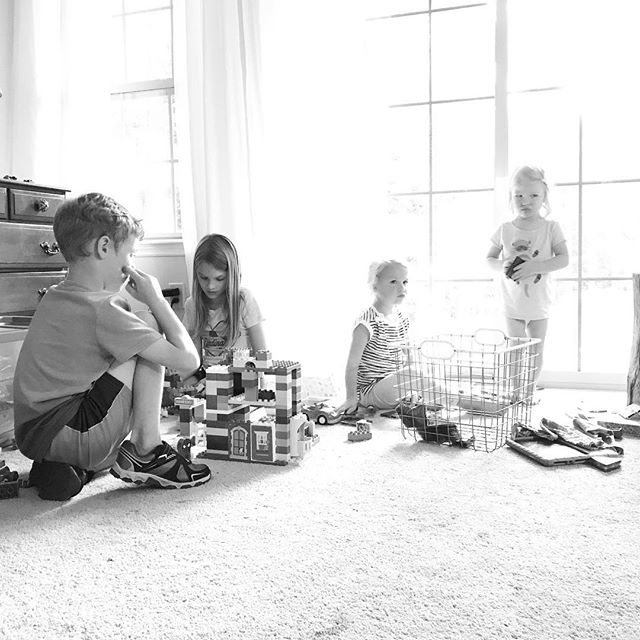 I brought out some building toys to the living room and they've been playing for days. Also, arguing. Let us remember that these squares hold glimpses of our lives. No one has it all figured out. No one is doing this perfectly. I'm trying to build a life where I worry less about what other people are doing and more about what attitude I can be bringing to my own home. How can I connect more with what really matters to me today? The answer is simple. Look in their eyes. Read a good book. Get outside. And yet I miss the mark many days. I'm in the middle of shaping a rhythm that will help me live out my values and spend my time focused on what matters.  What is your routine like at your house? #slowprogressisstillprogress #graceoverperfection #cultivatewhatmatters