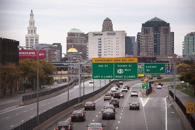 Traffic on the Kensington Expressway Leading to Downtown Buffalo, N.Y.    - Courtesy of Michel G. via    Flickr