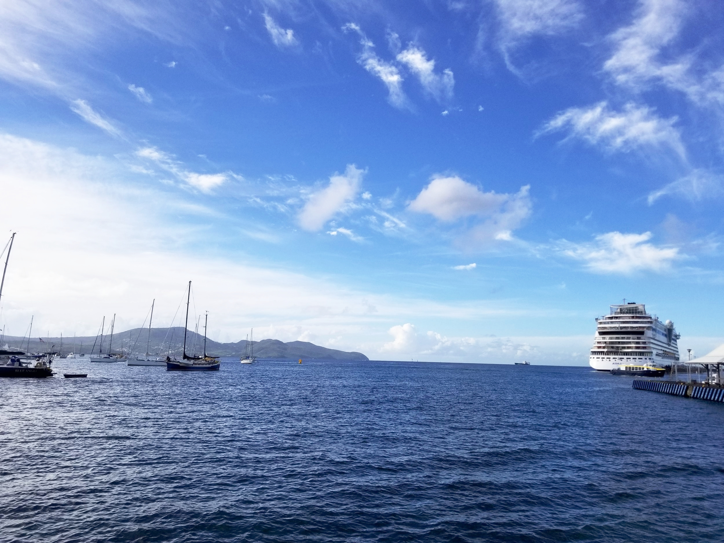 Cruise Ship Docking in Fort-De-France Harbor, Martinique, France