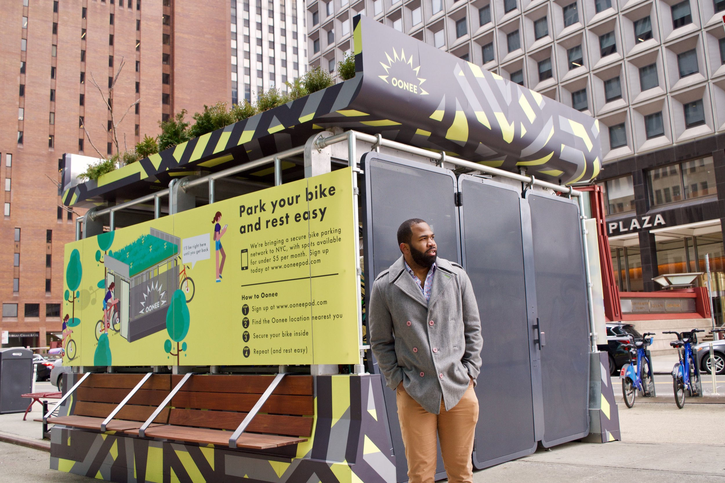Co-Founder, Shabazz Stuart next to an Oonee Pod Prototype - Downtown Manhattan , New York