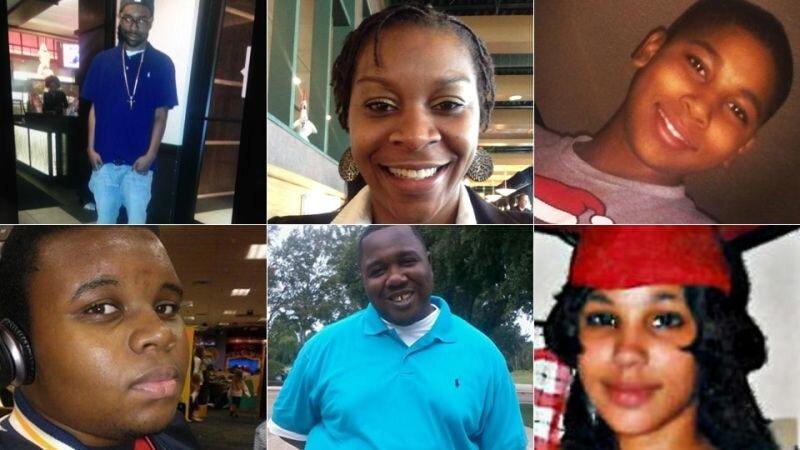Philando Castile, Sandra Bland, Tamir Rice; Michael Brown, Alton Sterling, Tarika Wilson