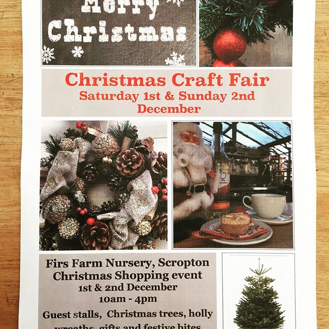 Look what's going on at Firs Farm Nursery - their annual Christmas Craft Fair is on both the Saturday and Sunday of the first weekend in December. Craft stalls, our range of coffees and hot drinks, mince pies and of course their freshly cut Christmas Trees 🎄 and holly wreathes.  More details to come 😊 🎄#Tutbury #scropton #hatton #hilton #rolleston #uttoxeter #cappucino #christmastrees #churchbroughton #derby #mickleover #littleover #stretton #burtonontrent