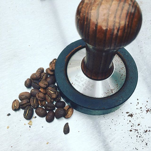 The all important tamp - this little gadget makes the difference between fantastic and mediocre coffee.  #coffeeshop #coffee #latte #cappuccino  #sumatrancoffee #coffeebeans #madeinitaly #artisancoffee #espresso #espressomachine