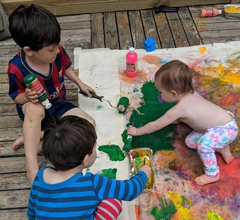 Eli, Caleb, and Mila getting Messy with Messy Art