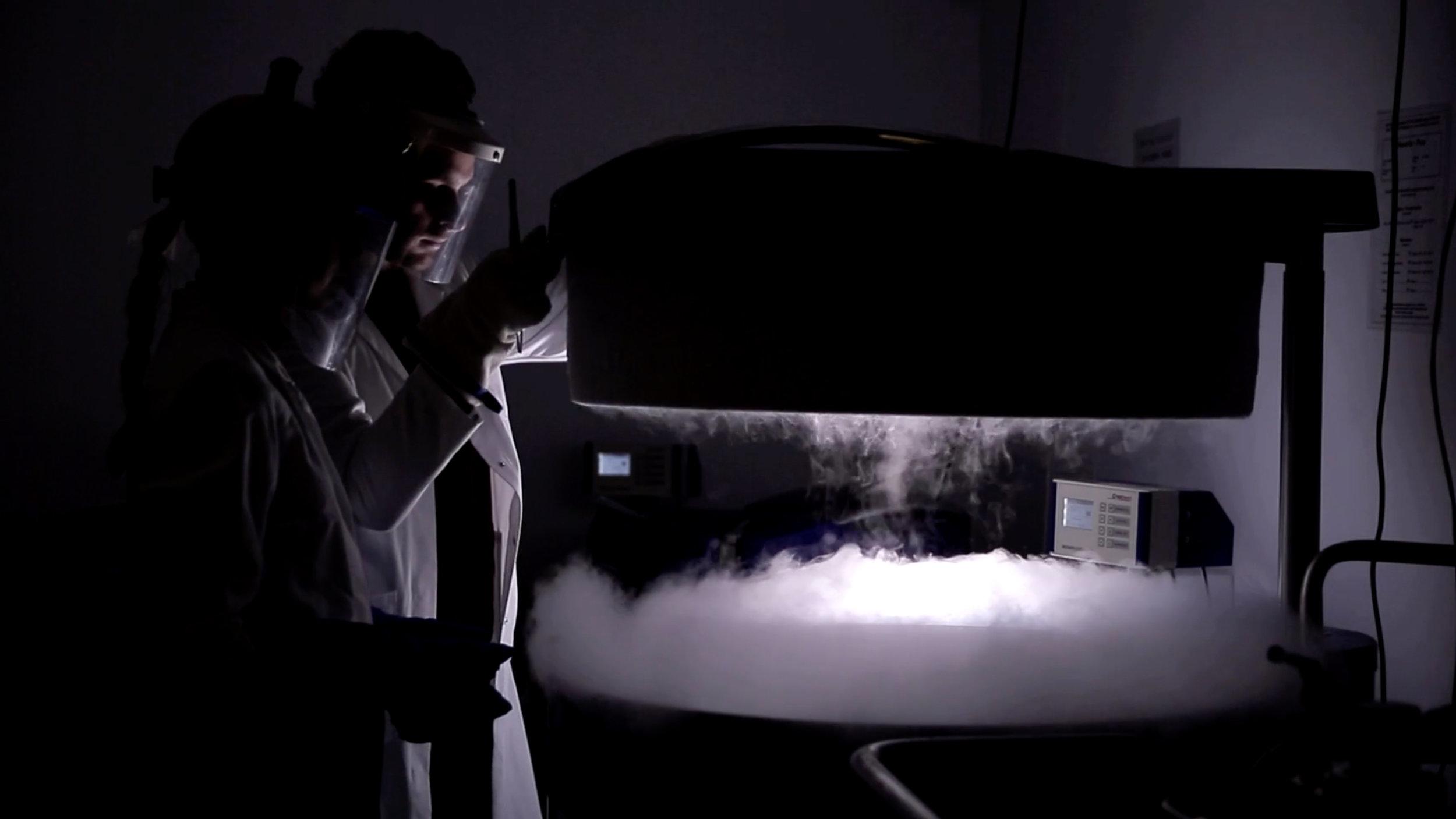 Screenshot from the film documentation of ÆON - Trajectories of Longevity and CRISPR.