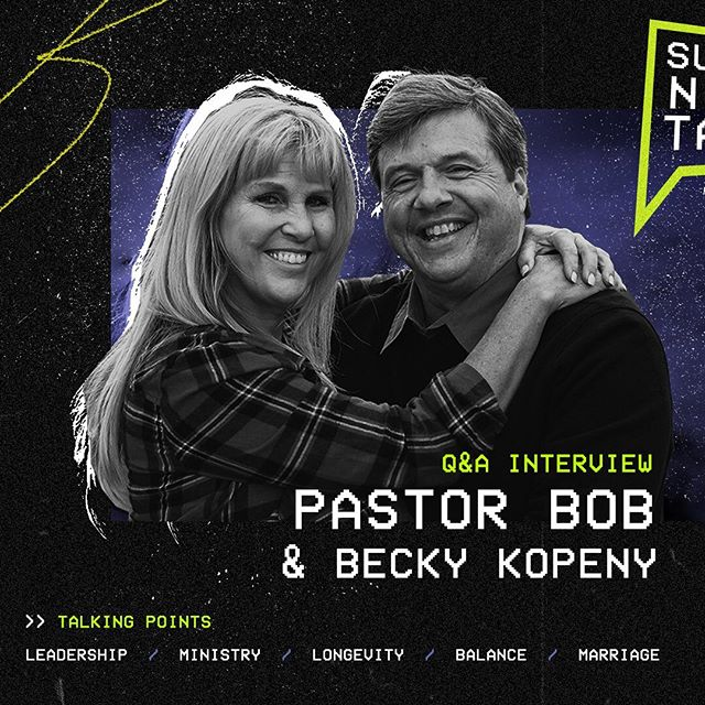 Very excited for our first Podcast Sunday tomorrow night! And what better guests than to have our very own senior pastor Bob Kopeny and his wife Becky! This is especially a great night for those who are looking to going into ministry and those already involved as well.
